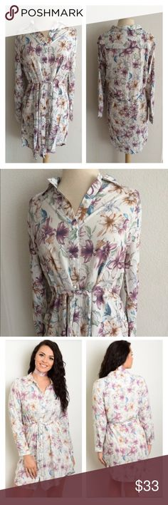 "(Plus) Floral shirtdress Floral dress. 100% rayon. Lightweight and flowy. Attached front ties. Buttons all the way down. May require a slip. I recommend going one size up on this one.  1x: L 37"" • B 42"" 2x: L 37"" • B 44"" 3x: L 38"" • B 46"" ⭐️This item is brand new from manufacturer in original packaging  🚫NO TRADES 💲Price is firm unless bundled 💰Ask about bundle discounts Availability: 1x•2x•3x • 2•2•2 Dresses Long Sleeve"