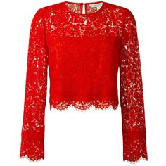 Diane Von Furstenberg floral lace blouse (345 PAB) ❤ liked on Polyvore featuring tops, blouses, red, red floral top, red lace blouse, lace top, flower print blouse and diane von furstenberg blouse