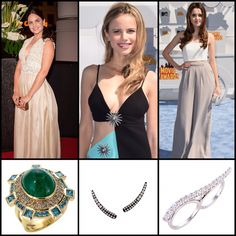 Seen On The Red Carpet:  #MenaSuvari in our Emerald Stardust Ring #HalstonSage in our Tiny Curve Ear Cuff in Black in White #LauraMarano in our Double Wave Ring in White