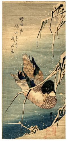 """Utagawa Hiroshige - """"Reeds in the Snow with a Wild Duck"""". S)"""