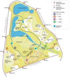 Mapa com percurso para caminhada e corrida no Parque Ibirapuera