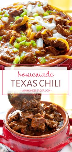 Texas Chili is the best food for the cold weather! This hearty winter recipe is packed with chunks of meat and flavor. Make this thick Texas chili recipe for the perfect comfort food dinner recipe! Texas Chili, Best Chili Recipe, Chili Recipes, Steak Chili Recipe, Winter Dinner Recipes, Easy Dinner Recipes, Dinner Ideas, Lamb Recipes, Meat Recipes
