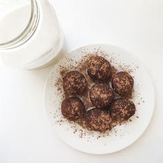 twist of lemons:  Cacao Coconut Protein Bites (made with Almond Pulp) + almond milk