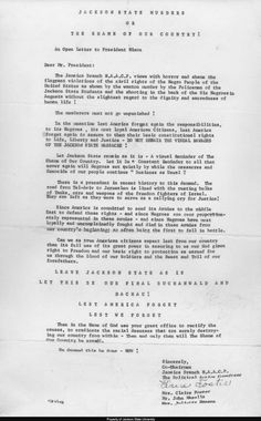 73775220 Jackson State University: Letter, Jamaica Branch NAACP to President Nixon.  http:/