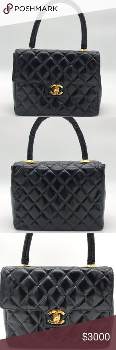 7f17acf6cab7 1994 Rare Chanel Mini Quilted Patent Top Handle. 1994 Rare Chanel Mini  Quilted Patent Leather