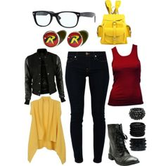 """Modern Young Justice Robin"" love it but not the yellow cardigan Chloe Fashion, Nerd Fashion, Fandom Fashion, Fashion Outfits, Punk Fashion, Batman Outfits, Disney Outfits, Nightwing, Young Justice Robin"