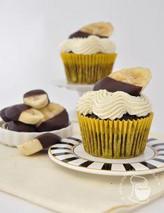 Cupcakes de chocolate e banana