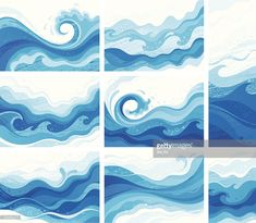 View top-quality illustrations of Blue Waves. Find premium, high-resolution illustrative art at Getty Images. No Wave, Wave Clipart, Wave Drawing, Wave Illustration, Illustrator, Wave Art, Wave Design, Wave Pattern, Ocean Art