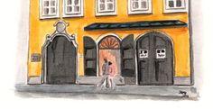 Plaza en Salzburgo en la que se situa la casa de Mozart. Detalle del dibujo con una pareja paseando