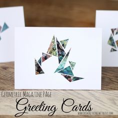 These are not my normal style but still pretty cool for something different. Geometric Magazine Page Greeting Cards Easy Paper Crafts, Paper Crafting, Diy Birthday, Birthday Cards, Magazine Cross, Washi Tape Cards, Diy Papier, Paper Cards, Diy Cards