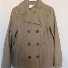 Banana Republic Khaki Pea Coat Banana Republic khaki pea coat that is still in great condition and is very warm for those cold fall/winter days. Banana Republic Jackets & Coats Pea Coats
