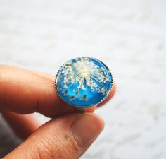 Real Flower Ring Resin Jewelry Queen Anne's by NaturalPrettyThings