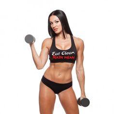 "Ladies Black ""EAT CLEAN"""" Sports Bra - BodyBags Authentic Gear"