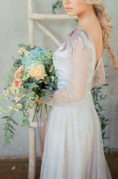 Tanny Grey lace wedding dress