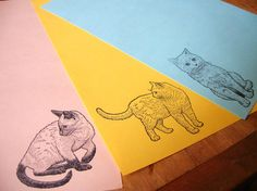 cat stationery letter set on color paper for writing by chewytulip