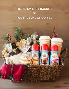 35 Gift Ideas for Neighbors and Friends - Yellow Bliss Road Budget gift ideas and simple homemade Christmas gifts; perfect for giving Christmas gifts to friends, neighbors, co-workers and teachers. Diy Christmas Baskets, Holiday Gift Baskets, Themed Gift Baskets, Raffle Baskets, Diy Gift Baskets, Homemade Christmas Gifts, Homemade Gifts, Diy Gifts, Holiday Gifts