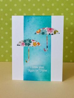 three umbrellas. Love this #card from Donna Mikasa. from die cut inlay to drops on paper/diamond glaze to masked off water color. sigh!