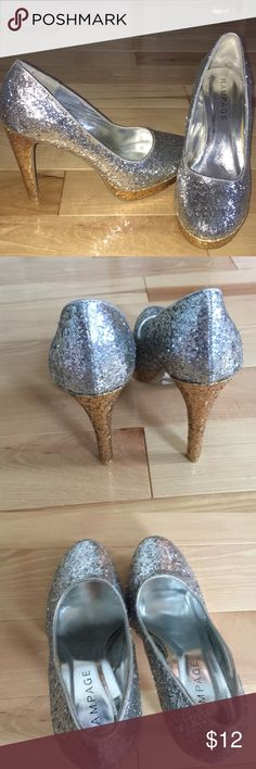 Rampage sparkly heels Gold and silver heels, new without tags! Rampage Shoes Heels