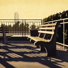 Kenton Nelson - Public Bench offered by William A. Karges Fine Art on InCollect Art Optical, Optical Illusions, American Scene Painting, Long Beach State, Art Nouveau, Blue Horse, Edward Hopper, Whitney Museum, Landscape Art