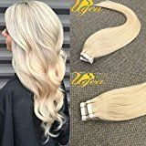 Ugeat 14 inch Seamless Tape in Human Hair Extensions Bleach Blonde Full Head Glue in Extensions Skin Weft Real Remy Hair 10pcs/25g