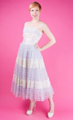 Violetville Vintage - 50s MOONSTONE Pale Purple Vtg PROM/Formal Tulle STRAPLESS Dress White lace XS/S - Evening Gowns - Dresses + Gowns - Clothing