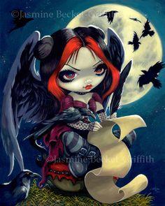 The Raven - gothic Edgar Allan Poe fairies - raven fairy art big eyes by Jasmine Becket-Griffith set of goth fairies - art by Strangeling big eye art Gothic Fantasy Art, Gothic Fairy, Kobold, Amy Brown, Fairy Pictures, Goth Art, Fairy Art, Big Eyes, Jasmine