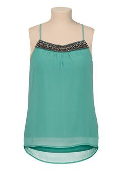 Embellished neck high-low racerback plus size tank (original price, $34) available at #Maurices