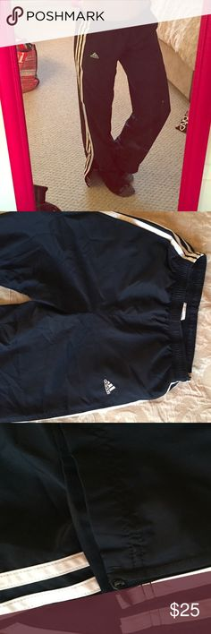 "Adidas Pants Great Adidas work out pants.  Classic ""swishy"" pants as I liked to call them.  Size Small. Very gently used. No issues with leg zippers or wear and tear on the bottom. Adidas Pants Track Pants & Joggers"