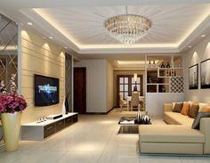 Moderne Deckengestaltung Kronleuchter Strahlen Muster Wohnzimmer Lowboard
