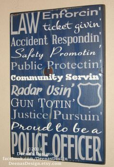 Police Officer Gift  Police Decor Distressed Wall by DeenasDesign, $44.00