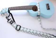 The Hug Strap, Handmade Ukulele Strap, Uke Strap, No Need for Strap Buttons, Blue and Gray Ikat, Plastic Hardware by TheHUGStrap on Etsy