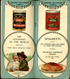 In 1896 Gebhardt registered the Eagle Brand Chili Powder trademark and opened an establishment in San Antonio #utsalibraries #gebhardt #chili #chiliconcarne #spaghetti #thatrealmexicantang lib.utsa.edu/gebhardt