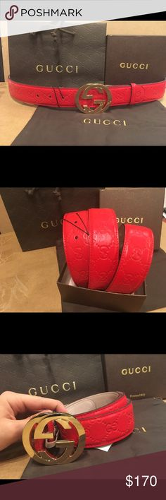 Gucci Hibiscus Red Gold Interlocking Buckle Belt NEW GUCCI HIBISCUS RED SIGNATURE LEATHER GOLD INTERLOCKING G BUCKLE BELT DESCRIPTION NEW WITH TAG AND DUST BAG GUCCI CURRENT SIGNATURE BELT. MADE IN ITALY. Gucci Accessories Belts