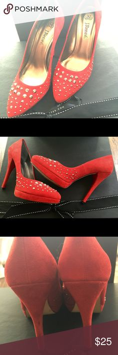 J. Renneé Starlet studded red suede pumps Gorgeous  studded stilletto with a soft faux suede, silver/ gray tone front studs. Lightly worn. Lost one small stud. Width medium. Heel hight approx. 5 inches :) J.Reneé Shoes Heels