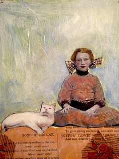 Kitty Love young girl and her cat vintage inspired  painting by MaudstarrArt