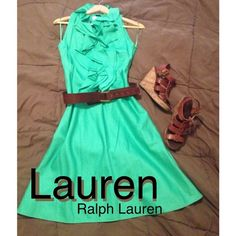 "Spotted while shopping on Poshmark: ""⬇️Green Ruffle Collar Dress""! #poshmark #fashion #shopping #style #Ralph Lauren #Dresses"