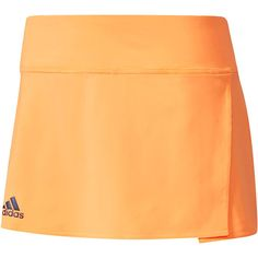 Shine on the court in the adidas Women's Melbourne 12 Inch Tennis Skirt in Glow Orange. With an elastic waistband, built-in contrast color shorts, and a flounce overskirt, you're sure to fall in love with this high performance athletic wear. climalite technology pulls sweat away from the skin to the outer fabric face for quick evaporation, enhancing the body's natural temperature regulation. Show off your brand loyalty with the signature three stripe adidas logo at the front, right hem!