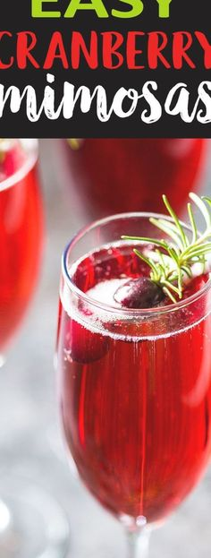 Easy Cranberry Mimosas - You're just 3 ingredients away from the most festive and delicious holiday mimosa! Christmas Cocktails, Christmas Brunch, Christmas Appetizers, Holiday Cocktails, Christmas Christmas, Italian Christmas, Xmas Desserts, Xmas Dinner, Christmas Morning