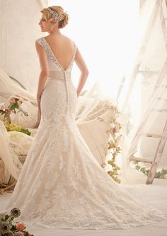 Bridal Gown From Mori Lee By Madeline Gardner Style 2608 Venice Lace Appliqués On Net, Edged With Crystal  Beading & Taffeta Waistband  Wedding Dress Vintage Wedding Dresses mermaid lace wedding dresses