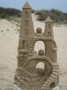 Sandcastles created on South Padre Island, Texas by Andy Hancock of sandcastlelessons.com
