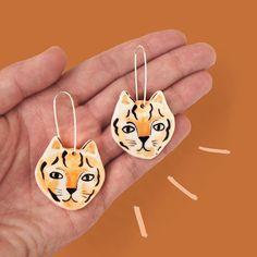 Togetherness Design / Esther Sandler - Melbourne based textile designer and illustrator Ceramic Tiger Earrings