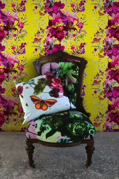 Glorious all around: Butterfly Blurr wallpaper, fabric and cushion