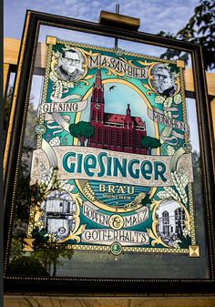 Gold leaf Glass sign. Glue chipped and screen printed. Abalone inlays. For Giesinger brewery munich