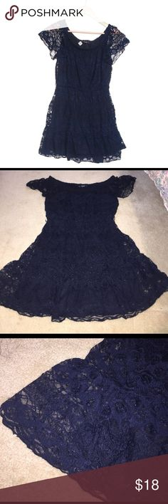 Navy lace dress Beautiful lace dress with ruffle sleeves. Stretchy and flowy. Sequin Hearts Dresses Mini