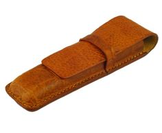 Handmade double leather pen case.   Made from crocodile grained vegetable tanned leather.