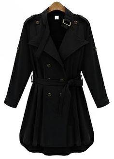 Black Long Sleeve Epaulet Belt Trench Coat US$35.97
