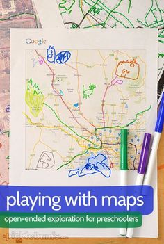 Playing with Maps - open-ended exploration for preschoolers. Also good for learning concept of where we are and how insignificant we are! Preschool Social Studies, Preschool Classroom, Map Activities, Preschool Activities, Preschool Decorations, Community Activities, Reggio, Transportation Unit, Preschool Transportation Crafts