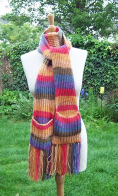 Hand Knitt Scarf With Pockets Unisex Scarf by evefashion on Etsy, £25.00