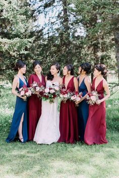 Navy and Burgundy Marsala Bridesmaid Dresses / http://www.deerpearlflowers.com/burgundy-and-navy-wedding-color-ideas/