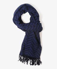 Chevron Stripe Scarf | FOREVER21 - Blue/Navy for $10.80.